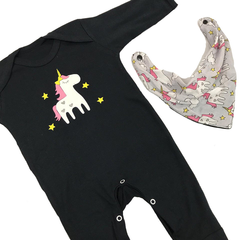 Unicorn Sleepsuit and Bandana Bib
