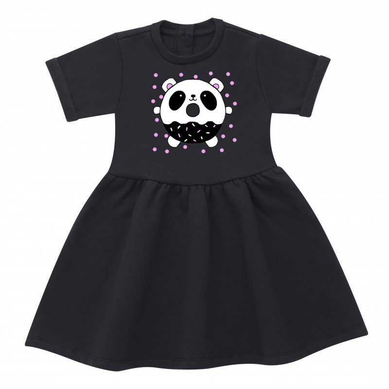 Panda Donut Black Cotton Dress