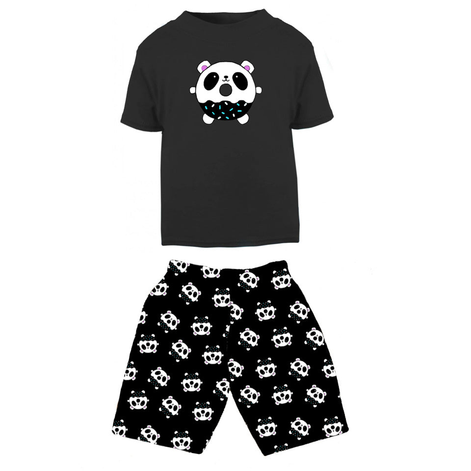 Panda Donut Print Board Shorts and T-shirt Outfit