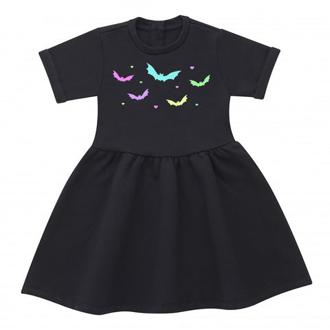 Pastel Bats Black Cotton Dress