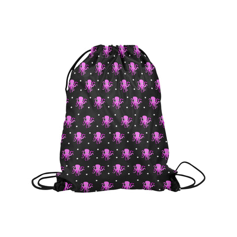 Pink Octopus Drawstring Bag