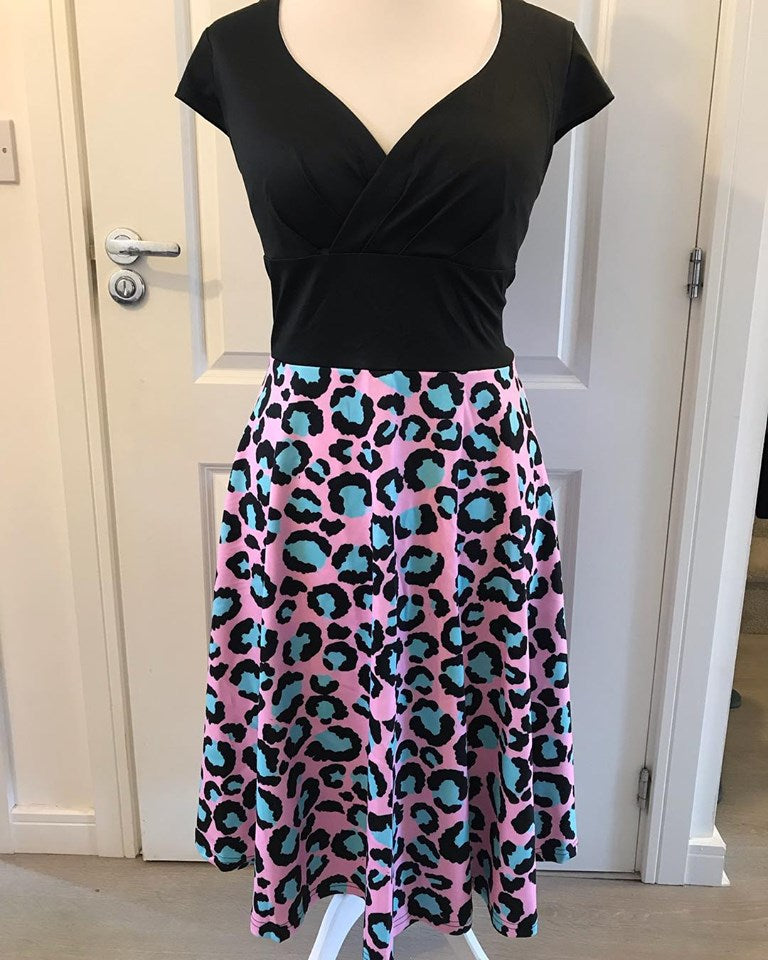 Pink & Blue Leopard Print Wrap Front Dress