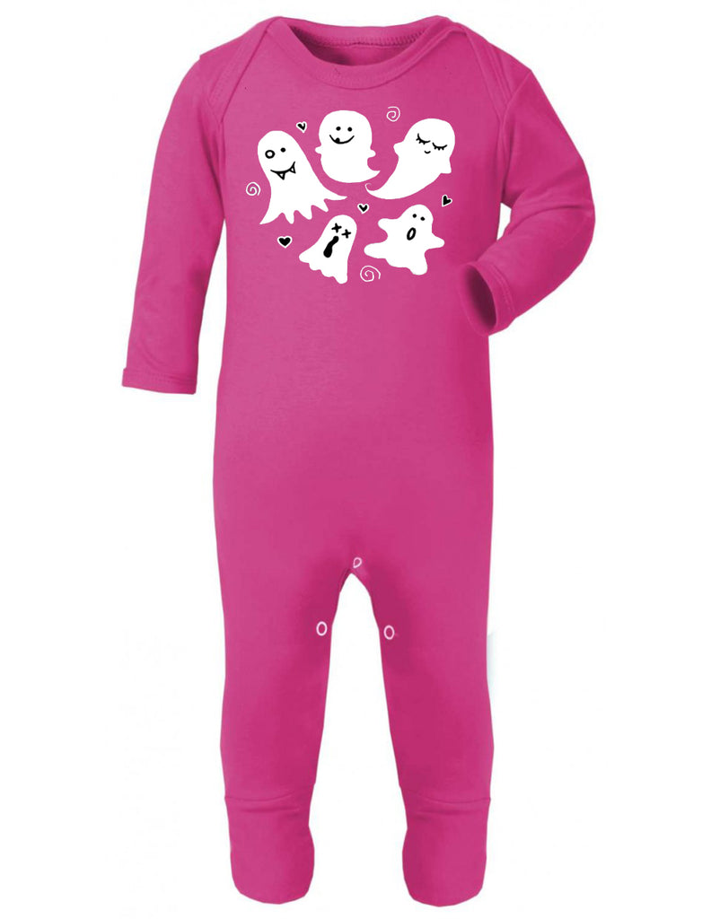 Cute Ghost Print Pink Sleepsuit