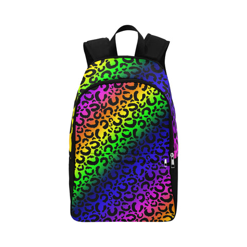 Rainbow Leopard Print Backpack Bag