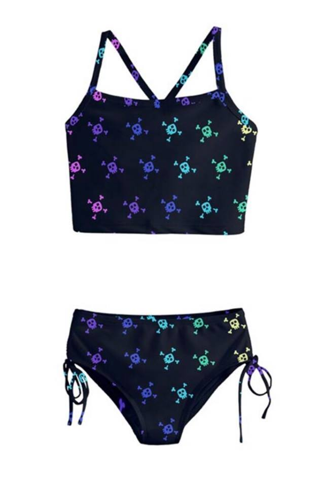 21b992e509ac0 Black & Rainbow Skull Girls Tankini – Alternatots