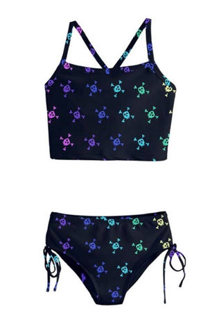 Black & Rainbow Skull Girls Tankini