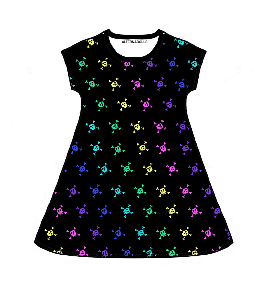 Ladies Rainbow Skull Skater Dress