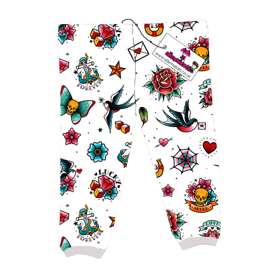 White Retro Tattoo Print Kids Leggings