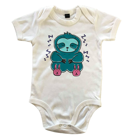 Sleepy Sloth White Baby Vest