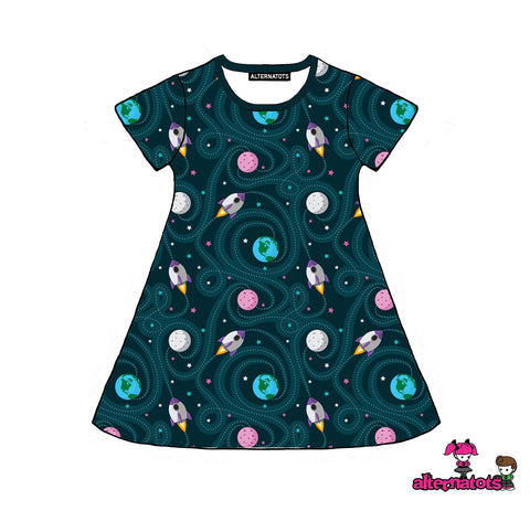 Spaceships and Rockets Girls Dress (long and short sleeves)