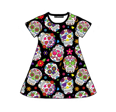 Sugar Skull Girls Dress (long and short sleeves)