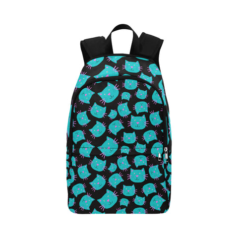 Turquoise Cat Face Print Backpack Bag
