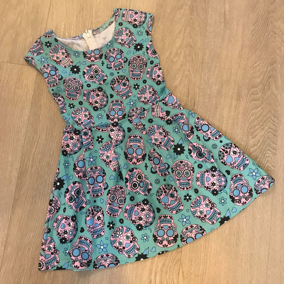 Caps Sleeve Turquoise & Pink Sugar Skull Girls Dress
