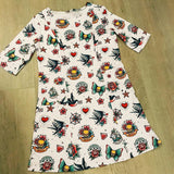 White Retro Tattoo Ladies Dress with Pockets
