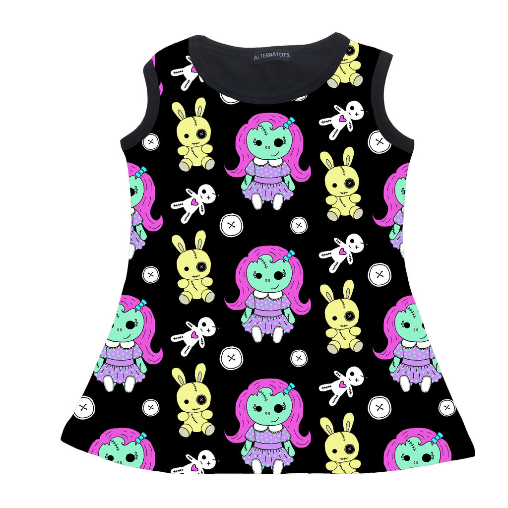 Black Zombie Doll Girls Tank Dress