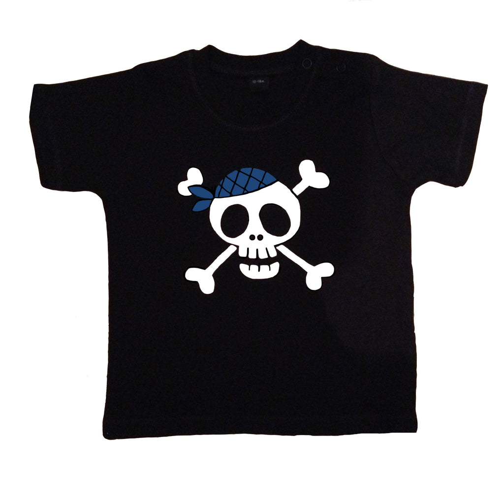 Children's unisex black t-shirt with large white skull print and blue bandana made by Alternatots