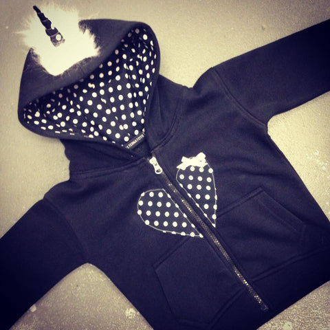 Black & White Polka Dot Unicorn Hoodie