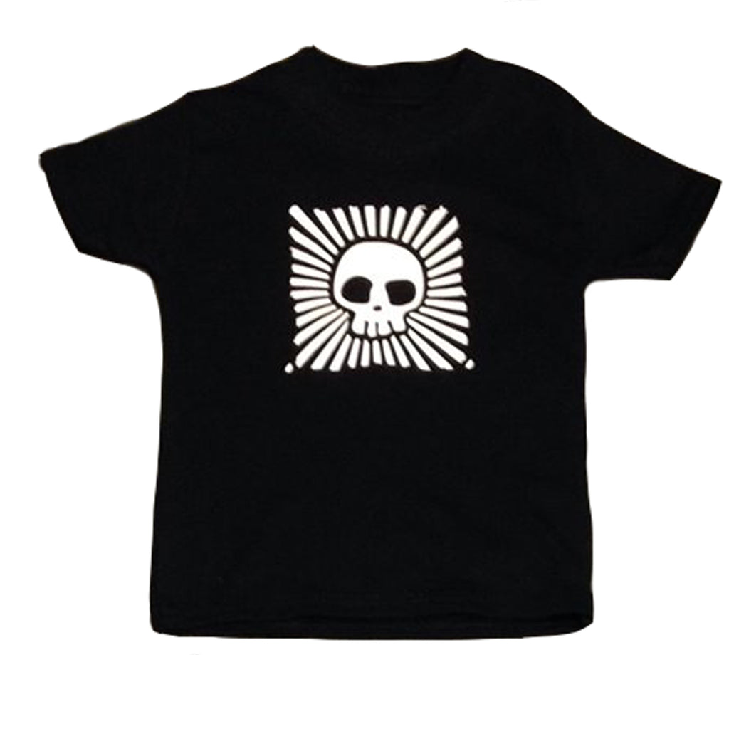 Children's alternative unisex black t-shirt with central skull print and white stripe surround made by Alternatots