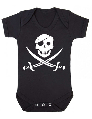 Black baby vest with a white vinyl cutlass jack pirate print made by Alternatots