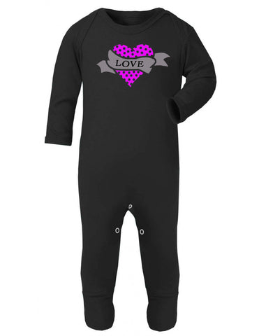 Pink Polka Dot Tattoo Love Heart Sleepsuit