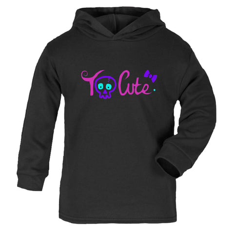 'Too Cute' Black Lightweight Cotton Hoodie