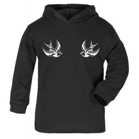 White Swallows Lightweight Cotton Hoodie
