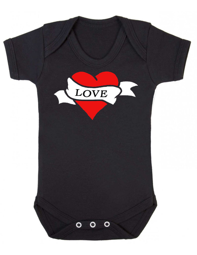 Tattoo Love Heart Black Baby Vest