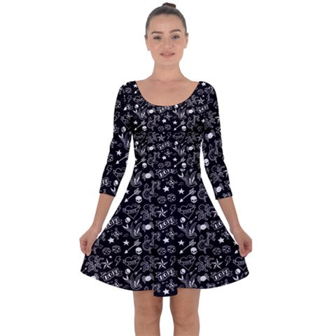 Black & White Tattoo Long Sleeve Skater Dress