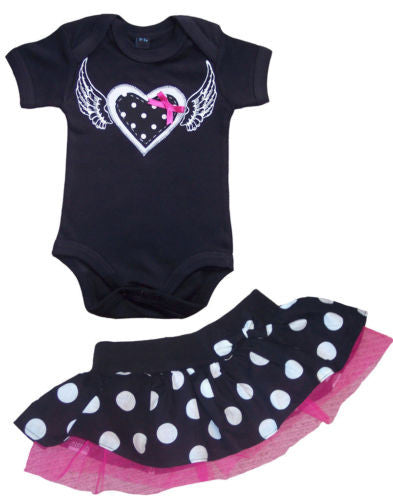 Heart & Wings Top & Polka Dot Tutu Skirt Outfit
