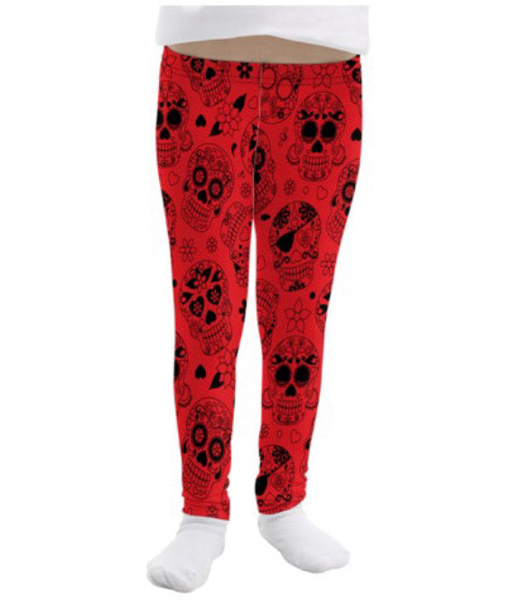 Red Sugar Skull Print Leggings