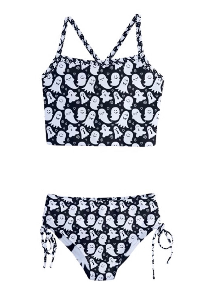 Cute Ghost Print Girls Tankini