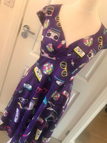 Purple Retro 80's Wrap Front Caps Sleeve Dress
