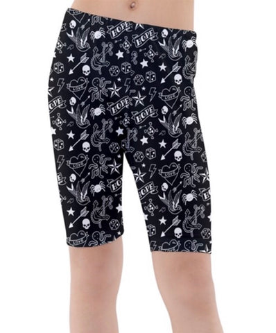 Black & White Tattoo Print Boys Swim Shorts