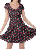 Cherry Print Ladies Skater Dress