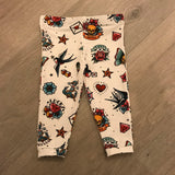 Retro Tattoo Print Kids Leggings