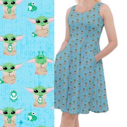 Baby Yoda Knee Length Ladies Skater Dress with Pockets