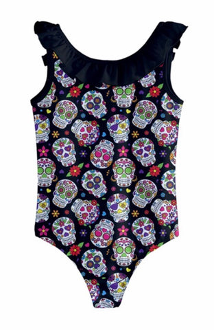 Black Sugar Skull Girls Frill Swimsuit