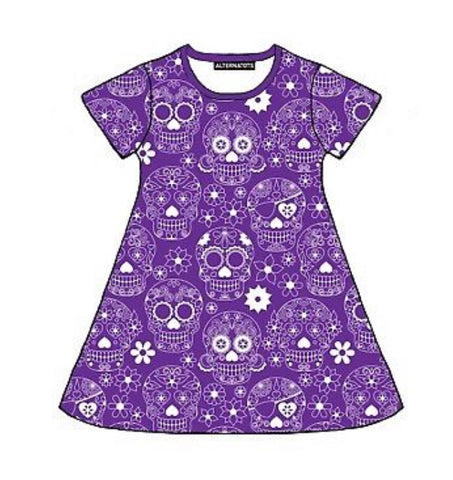 Purple Sugar Skull Girls Dress (long and short sleeves)
