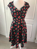 Polka Dot Cherry Print Wrap Front Caps Sleeve Dress
