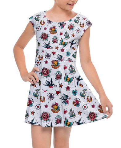 Caps Sleeve White Retro Tattoo Girls Dress