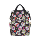 Black Sugar Skull Baby Nappy Changing Bag