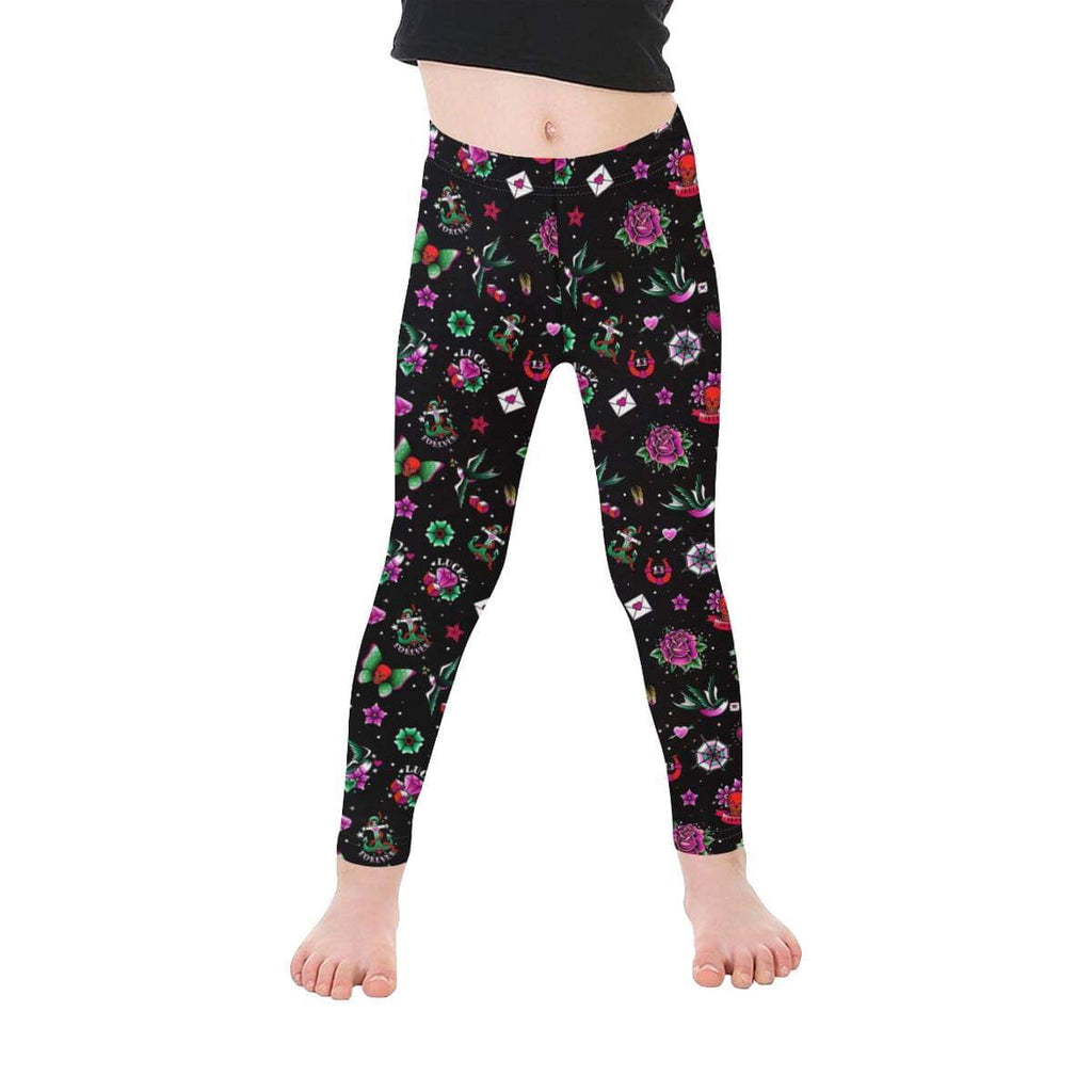 Black Retro Tattoo Print Leggings