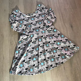 Bat Cat Grey Three Quarter Sleeve Skater Dress