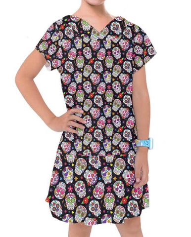 Black Dropped Waist Sugar Skull Girls Dress
