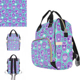 Aqua & Lilac Sugar Skull Baby Nappy Changing Bag