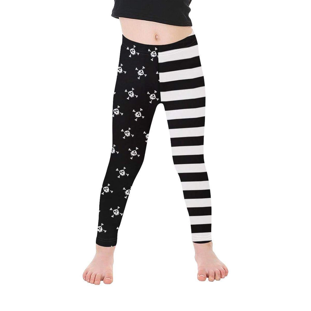 Black and White Stripes and Skulls Half Half Pirate Leggings