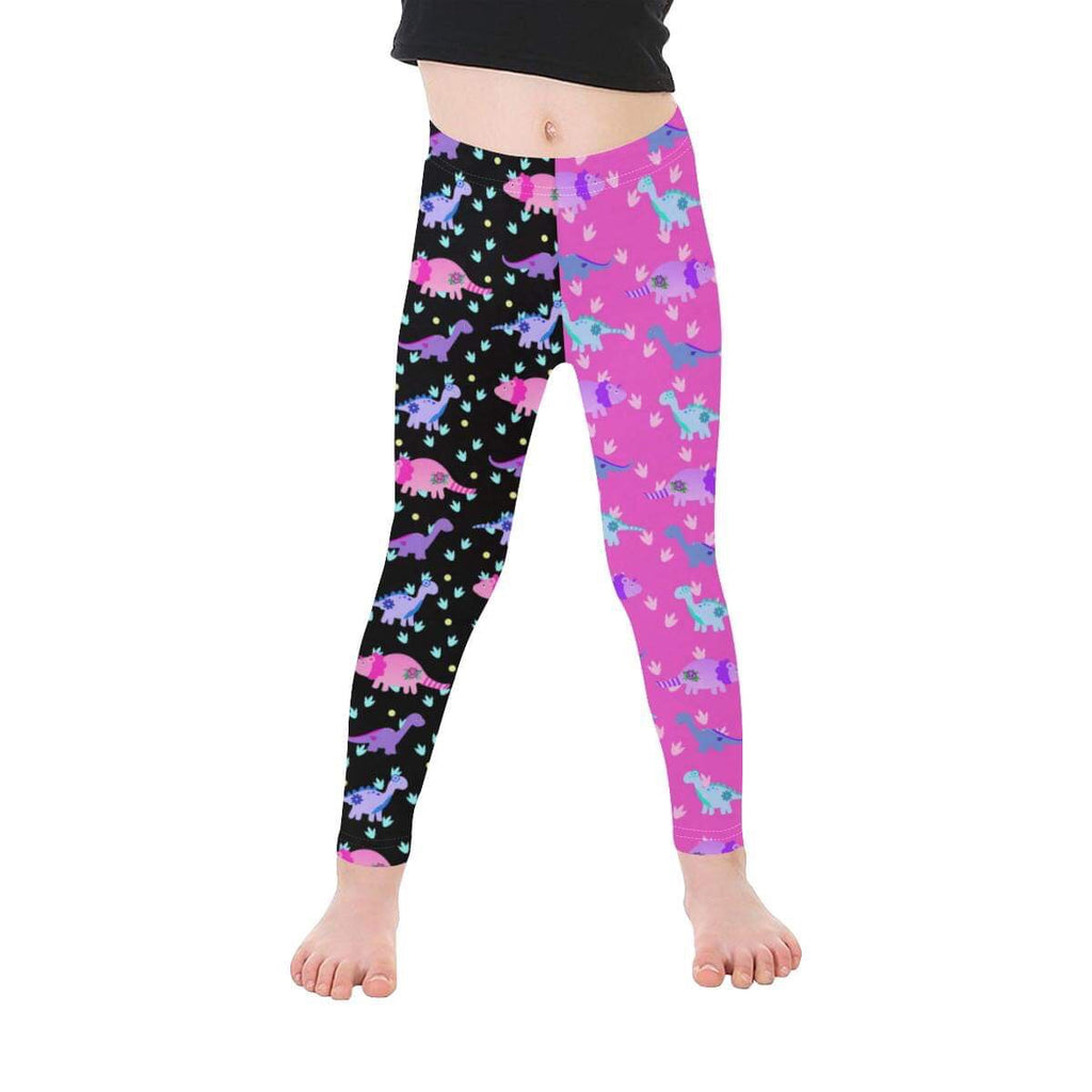 Half-Half Pink and Black Tattoo Dinosaur Leggings