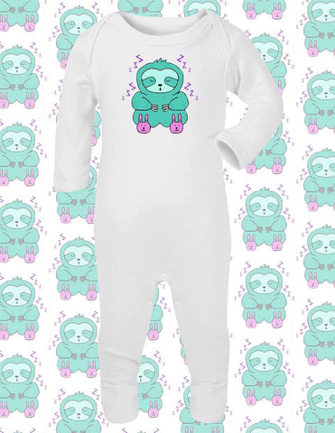 White Sleepy Sloth Baby Sleepsuit