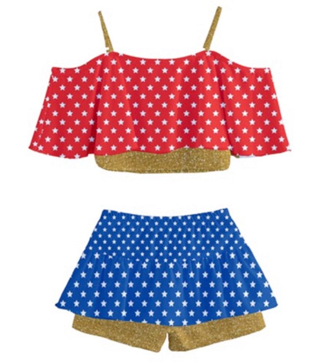 Wonder Woman Inspired Cold Shoulder Girls Frilled Tankini