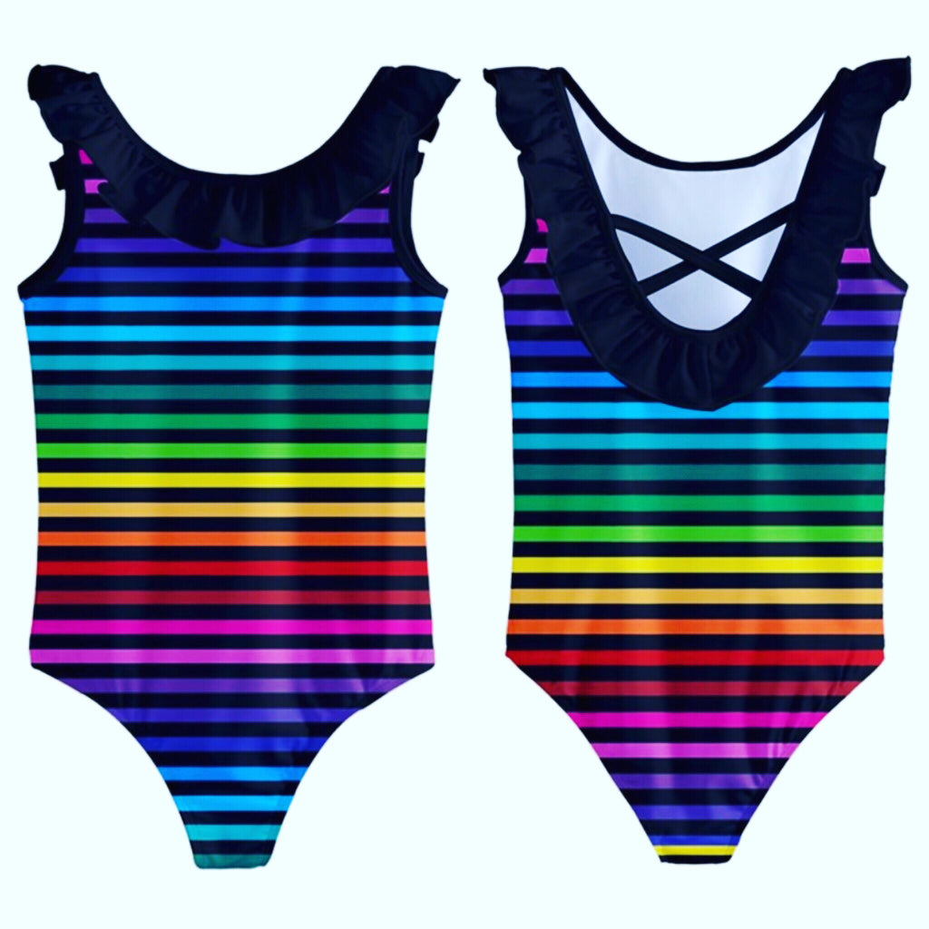 Rainbow Striped Girls Frill Swimsuit